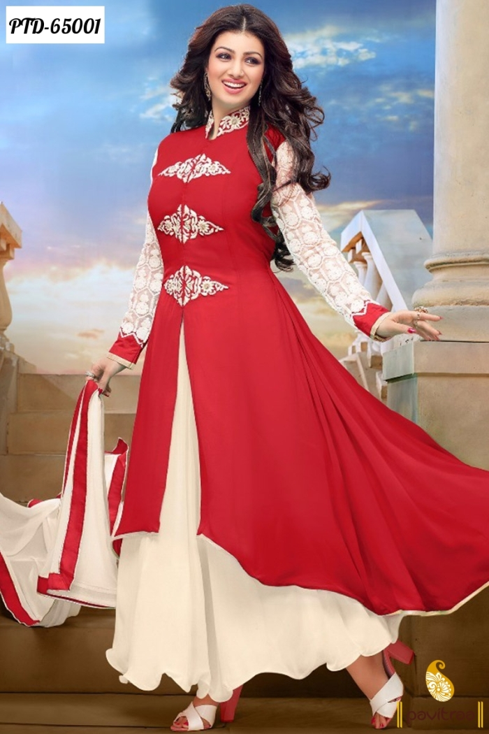 3aaf9ca044 Bollywood Actress Ayesha Takia Red Color Georgette Anarkali Salwar Suits  Designer Dresses Collection With Price