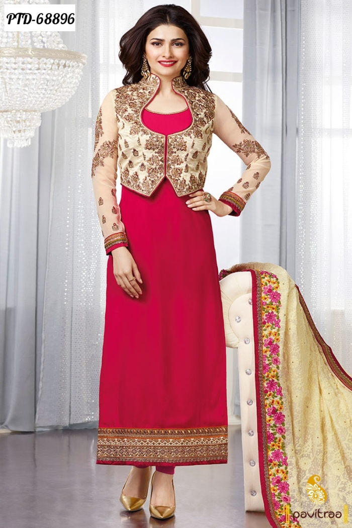 67bc65dd6c New Fashion Style Of Bollywood Heroin Prachi Desai Cream Red Color  Georgette Straight Salwar Suits In